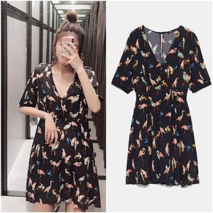 ZARA Bird Print Romper sz Medium